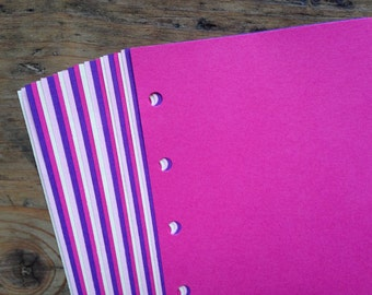Notepaper inserts - Fits Filofax or Organiser - pink and purple - A5/personal/pocket/mini