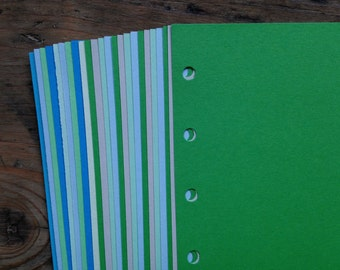 Notepaper inserts - Fits Filofax or Organiser - blue and green - A5/personal/pocket/mini