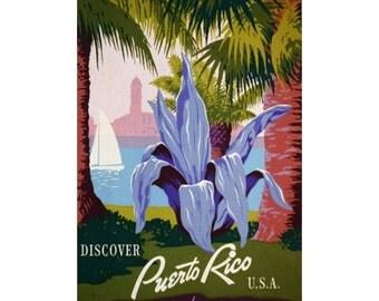 PUERTO RICO 1- Handmade Leather Mini Wallet / Card Holder - Travel Art