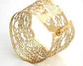 lace bracelet, gold bracelet, Wide Lace cuff Bracelet,delicate gold bracelet