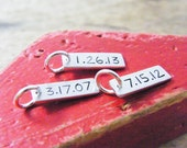wedding, anniversary, relationship date sterling silver handstamped charm tag