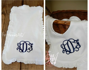 Monogram Ruffle Bib and Burp Cloth Set in White for Infant Baby Girl with Velcro Closure on Bib