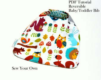 Baby Bib Tutorial, Toddler Pib Tutorial, Bib  Pattern, PDF Instant Download, Sewing Pattern, DIY, Sew Your Own