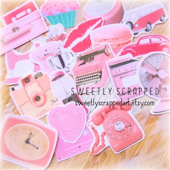 VINTAGE PINK Cut Outs ... Embellishments, Paper, Telephone, Typewriter, Clock, Cupcake and more!