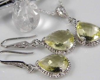 Yellow Wedding Jewelry | Yellow Bridesmaid Jewelry | Yellow Wedding Necklace |  Yellow Wedding Earrings | Yellow Bridesmaid Necklace | Gift