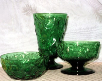 Vintage 1960s 1970s BRYCE Glass Footed Sherbet Dessert Bowl RARE El Rancho Greenbrier Forest Emerald GREEN  26 misc various pieces available