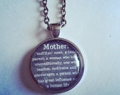 Mother definition round glass necklace Mothers Day gift