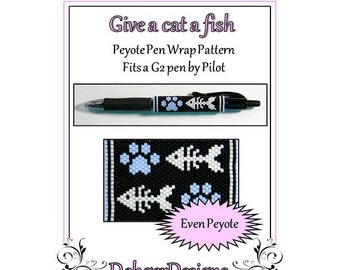 Bead Pattern Peyote(Pen Wrap/Cover)-Give a cat a fish