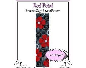 Bead Pattern Peyote(Bracelet Cuff)-Red Petal
