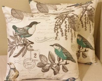 Set of 2 old postcard floral birds  pillow covers shams 18x18 vintage inspired throw cushions off white nature