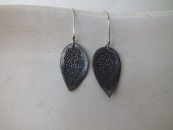 Small Copper  Textured Leaf Earrings