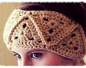 Crochet boho headband headwrap  - Adult size -  light brown