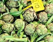 Artichoke Print - Food Photography - Roman Market Photograph - Kitchen Art  - Green Home Decor Vegetable Wall Art  Rome Italy Photo