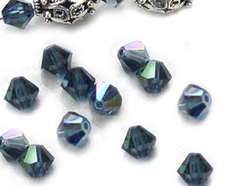 Swarovski Crystal Beads Montana Blue Bicone AB 5mm (24)