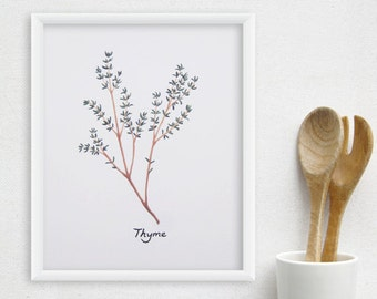 Herbs Kitchen Art - Any ONE Watercolor Herbs Print / 8x10 OR 8x11 Kitchen Print, Kitchen Decor
