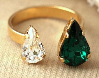 Emerald Crystal Swarovski Dual ring, Emerald Crystal Swarovski Ring, Trending Crystal rings, Emerald stacking ring, Gift for woman.