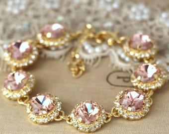 Blush Bracelet,Bridal Blush Bracelet,Bridal Blush Swarovski Bracelet,Swarovski Crystal Wedding Bracelet,Bridal Wedding Gold  Bracelet