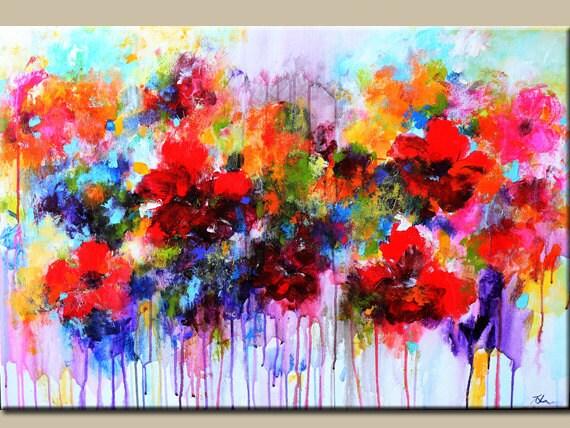 originalgem228lde abstrakt blumen malerei bunte gem228lde rote