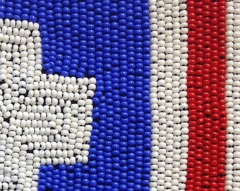 BWB Red White and Blue very Patriotic Beaded Badge (1) Shield