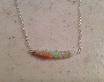Opal Necklace - Ethiopian Opal Beadbar - Sterling Silver Jewelry - Gemstone Jewellery - Chain - Luxe - Glam