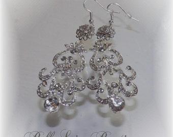 Chandelier Earrings for Bride or Bridesmaids - Silver Plated Chandelier Earrings - Formal Occasion Earrings