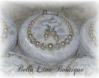 Graduated Ivory Swarovski Pearl Bridesmaid Earring & Bracelet Set