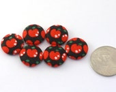 Red Apples With Stars - Tiny Pushpins or Magnets - Small Craft Buttons - DIY Hair Ties - Black - Japanese Fabric  - Kawaii  Cute - Small