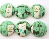 Reserve Order Pushpins and Magnets  Japanese Fabric Covered Buttons / Kawaii / Pushpins / Co Worker Gift / Crochet  / Aqua  128
