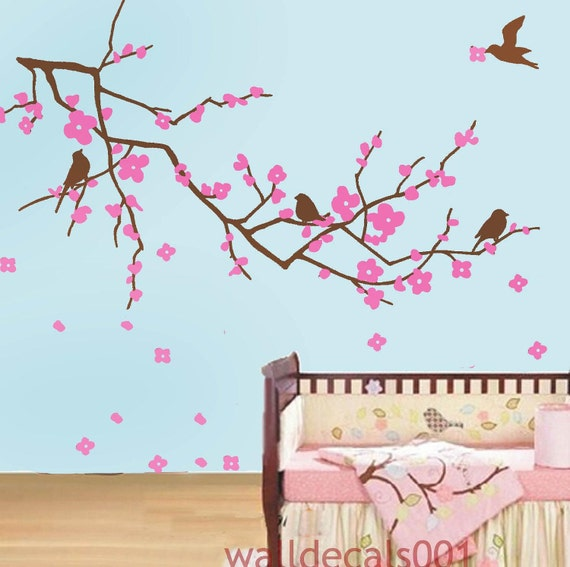Wall decals cherry blossom decal kids wall art baby by for Cherry blossom mural works
