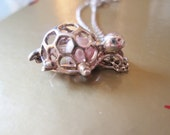 STERLING silver turtle SHAPED hinged pendant interchangeable? pearl ORB necklace