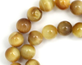 Honey Tiger Eye Beads - 8mm Round - Limited Quantity