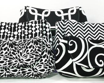 Bridesmaid Clutches Bridal Party Clutches Fold Over Clutches Choose Your Fabric Black White Set of 6