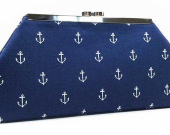 Clutch Purse - Navy White Anchor Clutch Bag Purse Nautical Beach Wedding Bridesmaid Clutch