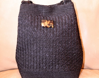 Woven Black Bucket Purse with Tortoise Shell Button - Vintage 1990s Christian Livingston Tote - Excellent Condition