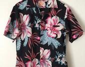 RESERVED for VinMan007 Big Bold Flowers Vintage Hawaiian Aloha Shirt Medium Large Sears
