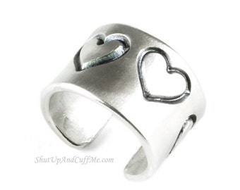 Heart Ear Cuff - Aluminum Stamped Ear Cuff