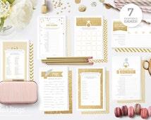 Printable Bridal Shower Game Bundle // 7 Games in Gold Glitter