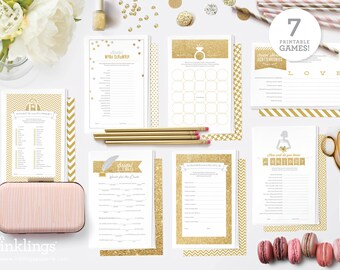 Printable Bridal Shower Games // 7 Games including Wishes for the Couple, Purse Game, Scattergories, Bridal Libs, World Scramble // Gold