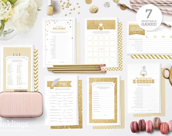 Printable Bridal Shower Game Bundle // 7 Games in Gold Glitter
