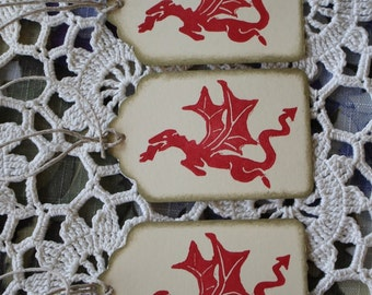 Dragon Tags - Smaug - Handstamped Set of Seven from hand carved stamp -Hobbit Tolkien Lord of the Rings LOTR