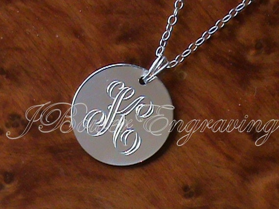 Personalized Initial Pendant - Hand Engraved Sterling Silver 3/4 Inch Disc With Any Letter