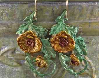 Vintage Flowered Hand Painted Dangle Earrings