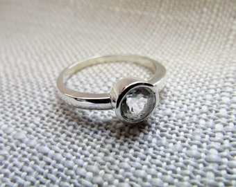 Wedding ring, engagement ring, white topaz, sterling silver, diamond, bezel set, simple ring, simple band, handmade, proposal