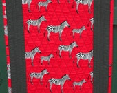 QUILTED AFRICAN ZEBRA  TableRunner 53 inches x 16 inches in Red Black and White