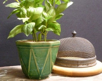 Antique Green Yellow Ware Planter