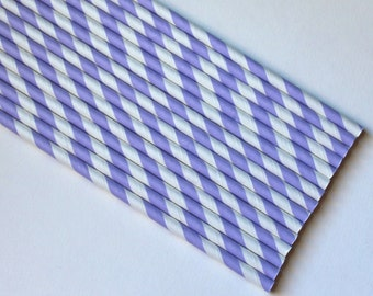Vintage Inspired Paper Straws- Lavender Purple- 25 count with DIY Printable Straw Flags