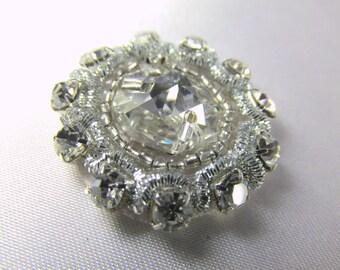 Clear Silver 1 inch round Sew On Flower Rhinestone Applique for bridal, fashion, or costume decoration