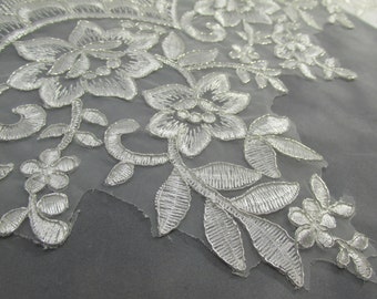 Off White Platinum Bridal Floral pattern Lace in Cascading Alternating Lengths 5 inches to 8 inches wide by the yard or half yard