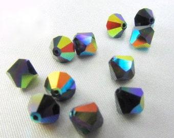 15 JET Black AB 7mm Swarovski Bicone Jewelry Beads