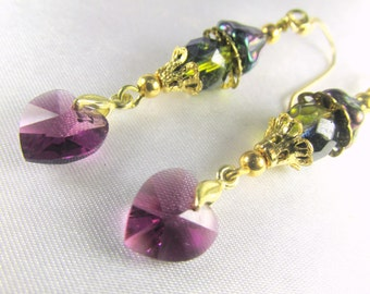 Purple Amethyst Swarovski Heart Earrings with Two Tone Green Teal Czech on 14k gold fill wires